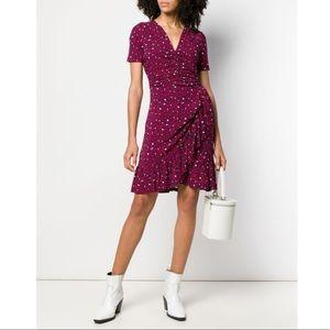 Michael Kors Heart-Print Ruched Matte-Jersey Dress